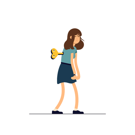 Vector illustration young tired woman, sleepy mood, weak health, mental exhausted. Concept illustration female character like clockwork toy Vectores