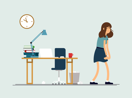 Vector illustration young tired woman, sleepy mood, weak health, mental exhausted. Concept illustration female character is very tired after work day