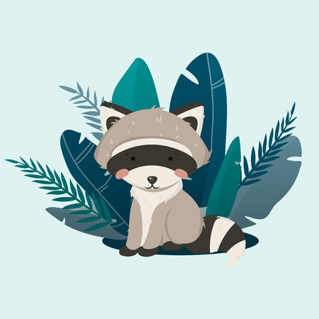 Vector illustration, raccoon inside tropical leaves. Litlle and cute raccoon