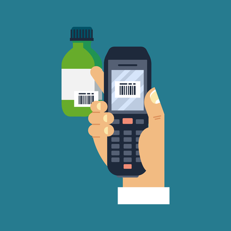 Vector illustration male hand holding mobile bar code scanner or reader scan a bar code on a bottle of medicine.