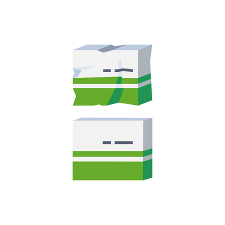A vector illustration icon of a badly damaged cardboard medicine packaging. Concept for damaged goods