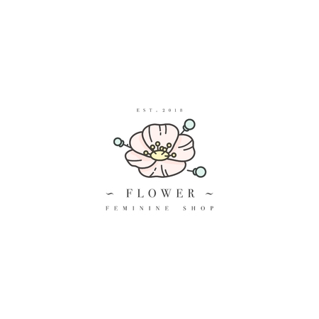 Vector template logo or emblem - feminine design - flower anemone. Logo in trendy linear style.