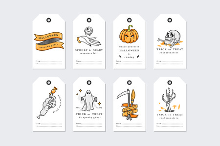 Vector illustration set of linear icons for Happy Halloween. Happy Halloween gift tags on white background.