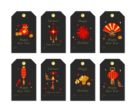 Vector linear design for Chinese New Year greetings with traditional elements and itams on white background. Christmas tags set with typography and colorful icon. Illustration