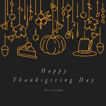 Vector linear design Thanksgiving day greetings card. Typography and icon for autumn holiday background, banners or posters and other printables.
