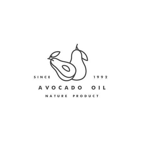 Vector design template logo and icon in linear style - avocado oil - healthy vegan food. Logo sign.