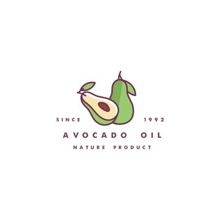 Vector design template logo and icon in linear style - avocado oil - healthy vegan food. Logo sign. Stock Vector - 114438095