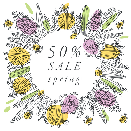 Vector hand draw flowers design for spring sale card colorful color. Typography and icon for special sale offer background, banners or posters and other printables