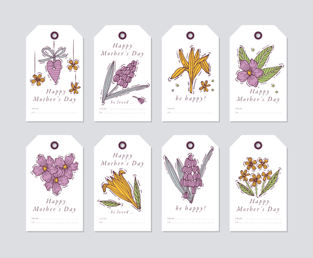 Vector linear design for Mothers day greetings elements on white background. Spring holidays tags set with typography and colorful icon Ilustração