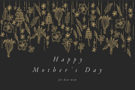 Vector hand draw design for Mothers day greetings card golden color. Typography and icon for spring holiday background, banners or posters and other printables