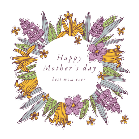 Vector hand draw design for Mothers day greetings card colorful color. Typography and icon for spring holiday background, banners or posters and other printables