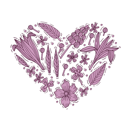 Colored hand draw flowers and leaves heart shape. Engraved style flowers. Valentines card. Vector illustration