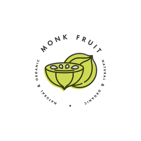 Packaging design template logo and emblem - monk fruit. Logo in trendy linear style.