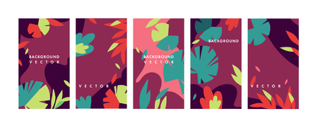 Vector set design colorful templates backgrounds - social media story wallpapers. Can be used like banners, posters, cover design templates