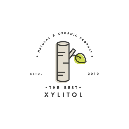 Packaging design template logo and emblem - sugar - xylitol. Logo in trendy linear style.