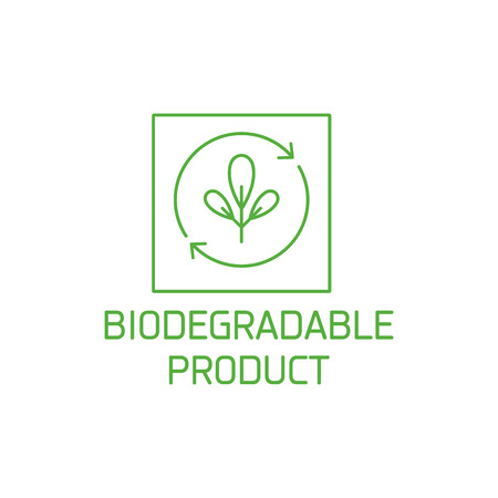 Vector logo, badge and icon for natural and organic products. Biodegradable product sign design. Symbol of healthy product.