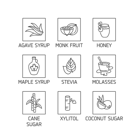 Vector set of logos, badges and icons for natural and organic products. Collection symbol of healthy products and sugar alternatives, natural substitutes.