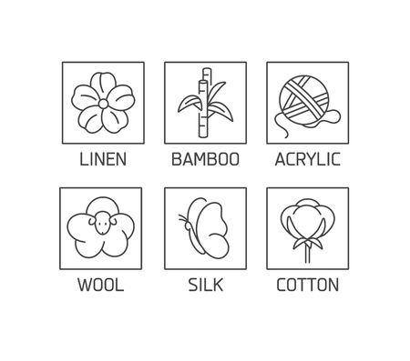 Vektorsatz linearer Symbole und Abzeichen für natürliches Gewebe. Organische und umweltfreundliche Herstellung. Kollektionssymbol der natürlichen zertifizierten Herstellung von Kleidung