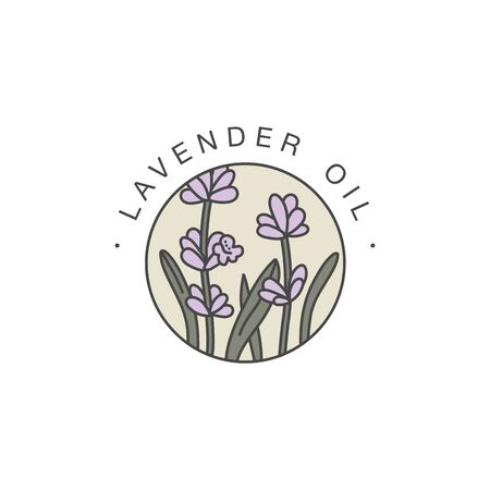Vector design template and emblem - healthy and cosmetics oil. Lavender natural, organic oil.