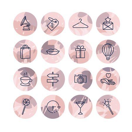 Vector set design icônes et emblèmes de modèles colorés - point culminant de l'histoire des médias sociaux. Différentes icônes de blogueur dans un style linéaire branché isolé sur fond blanc.