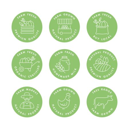 Vector set of badges and icons for natural farm and health products. Collection symbol of localy grown and organic food Archivio Fotografico - 130082890