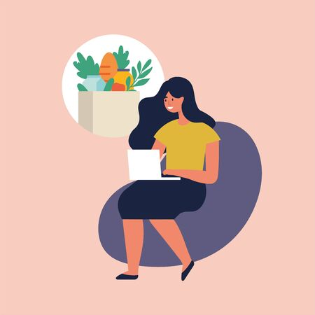 Vector illustration young woman is making grocery purchases online by phone, browsing devices. Delivery food. Illustration