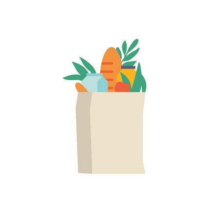 Kraft paper shopping bag with fresh vegetables meal. Flat vector illustration organic and natural food. Nature packet isolated in white background.