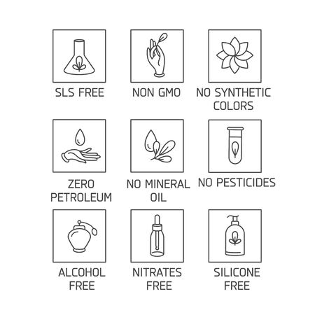 Vector set of logos, badges and icons for natural and organic products. Eco safe sign design. Collection symbol of healthy products Logo