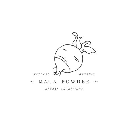 Vector design element and icon in linear style - maca powder - healthy eco food. Organic ingredient. Detox supplements.