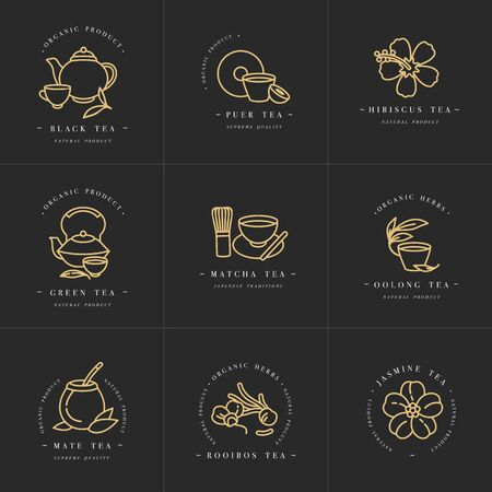 Vector set design golden templates and emblems - organic herbs and teas . Different teas icon. in trendy linear style isolated on white background