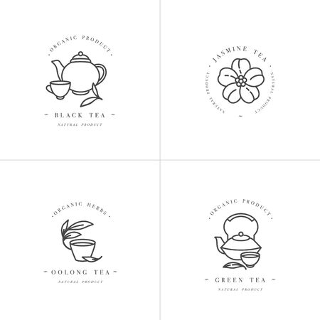 Vector set design monochrome templates and emblems - organic herbs and teas . Different teas icon- jasmine, black, green and oolong . in trendy linear style isolated on white background Ilustrace