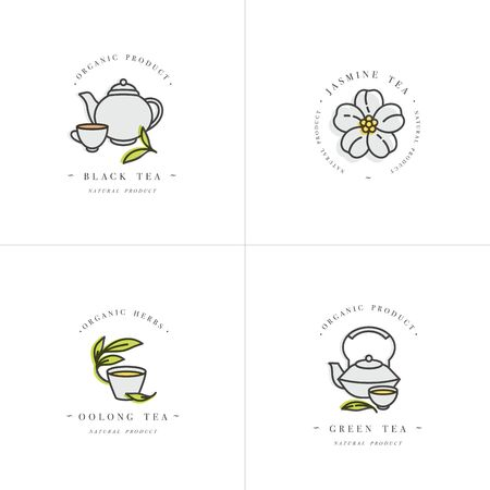 Vector set design colorful templates and emblems - organic herbs and teas . Different teas icon- jasmine, black, green and oolong . in trendy linear style isolated on white background
