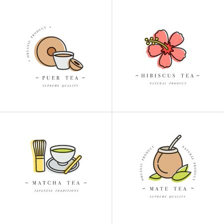 Vector set design colorful templates and emblems - organic herbs and teas . Different teas icon-puer, hibiscus, mate and matcha. in trendy linear style isolated on white background