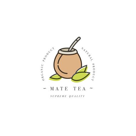 Packaging design template and emblem - mate tea. in trendy linear style isolated on white background