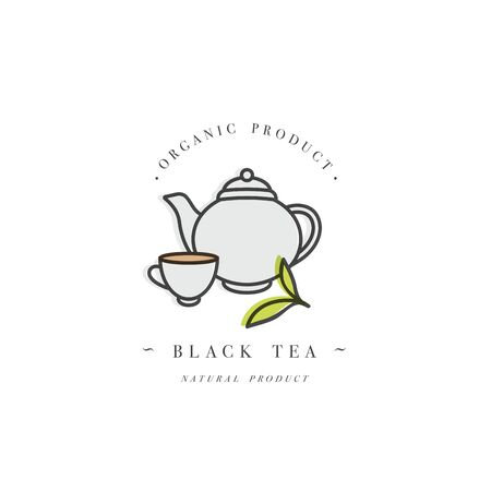 Packaging design template and emblem - black tea. in trendy linear style isolated on white background