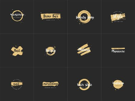 Vector set emblems, badges or design templates for nail studio, beauty shop sign with round spots and brush stroke. Golden syle