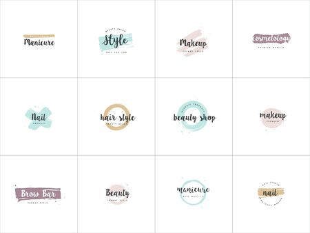 Vector set emblems, badges or design templates for nail studio, beauty shop sign with round spots and brush stroke