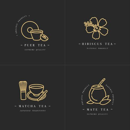 Vector set design golden templates and emblems - organic herbs and teas . Different teas icon-puer, hibiscus, mate and matcha. in trendy linear style isolated on white background