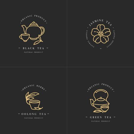 Vector set design golden templates and emblems - organic herbs and teas . Different teas icon- jasmine, black, green and oolong . in trendy linear style isolated on white background Ilustrace