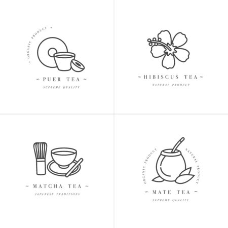 Vector set design monochrome templates and emblems - organic herbs and teas . Different teas icon-puer, hibiscus, mate and matcha. in trendy linear style isolated on white background