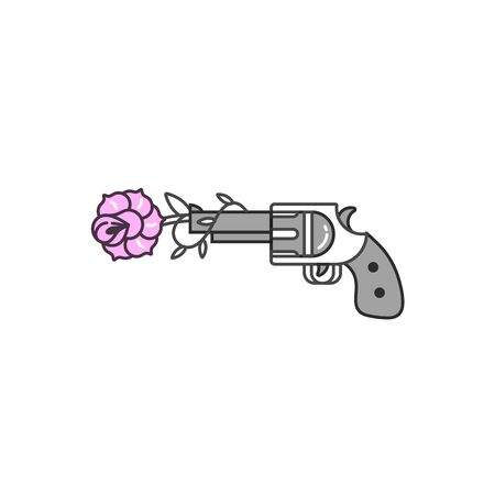 Vector illustration gun shooting flower. Linear graphic print for t-shirts. Poster or print old school style