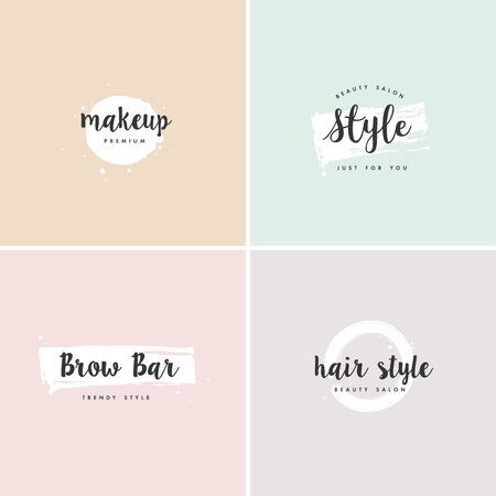 Vector set of emblems, badges and design templates for beauty shops, hairdresser's, brow bar and makeup with with round spots and brush stroke