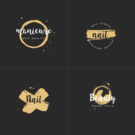 Vector set emblems, badges or  design templates for nail studio, beauty shop sign with round spots and brush stroke. Golden icon Ilustrace