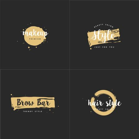 Vector set of emblems, badges and design templates for beauty shops, hairdresser's, brow bar and makeup with with round spots and brush stroke. Golden syle