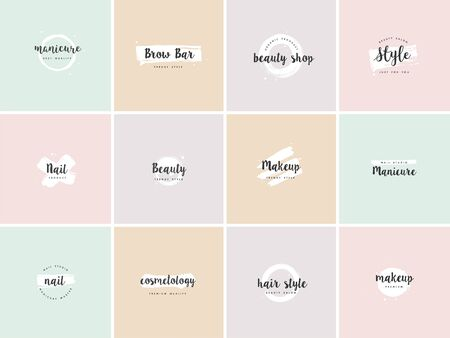 Vector set emblems, badges or  design templates for nail studio, beauty shop sign with round spots and brush stroke Ilustrace