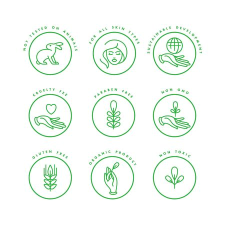 Vector set of badges and icons for natural and organic products. Eco safe sign design. Collection symbol of healthy products