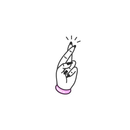 Vector illustration hand with crossed fingers. Symbol of good luck. Stickers, print, patches old school style Vector Illustratie