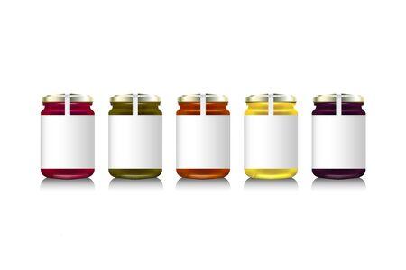 Glass jars with with jam, configure or honey. Vector illustration. Packaging collection. Label for jam. Bank realistic. Mock up jam jars with design labels or badges Illustration