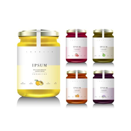 Glass jars with with jam, configure or honey. Vector illustration. Packaging collection. Label for jam. Bank realistic. Mock up jam jars with design labels or badges Ilustração