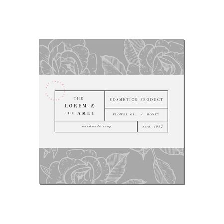Vector patten for cosmetics with label template design. Pattern or wrapping paper for package and beauty salons. Botanical collection. Organic, natural cosmetic